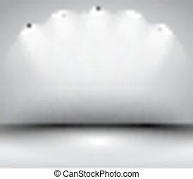 art, spotlights., cadre, moderne, conception, intérieur, galerie