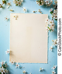 art Spring border background with blossom - art Spring...