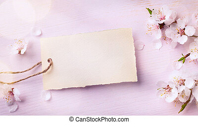 art Spring border background with pink blossom