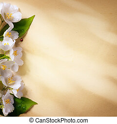art spring flowers frame on paper background