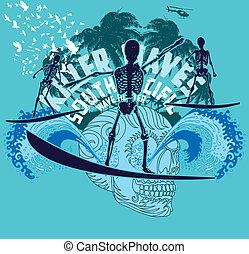 art, squelette, océan pacifique, vecteur, surfeur