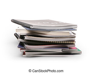 art stack of brochures on a white background - stack of ...