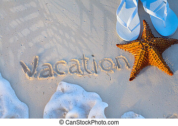 Art starfish and flip flops on a tropical beach. Summer vacation