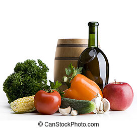 art Still life with vegetables and a bottle