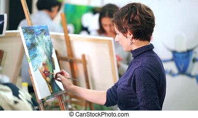 art-studio, image, femme, academy., jeune, dessin, ou