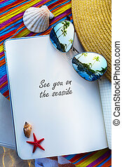 art summer Beach. Beach scene with blank book