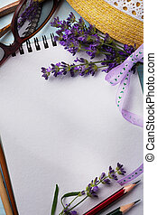 art Summer Travel Provence, notebook and lavender