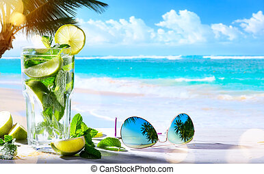 art summer tropical beach wine bar; mojito cocktail drink