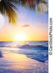 Art summer vacation drims; Beautiful sunset over the tropical beach
