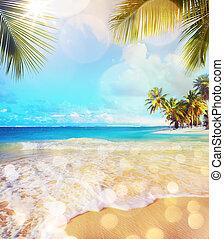 Art Summer vacation ocean beach - Art Paradise nature,...
