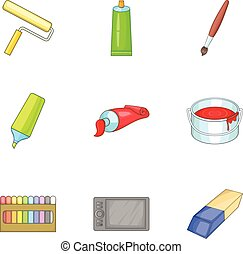 Art supplies icons set, cartoon style