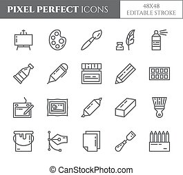 Art supplies theme pixel perfect thin line icons. Set of elements of paintbrush, graphic tablet, canvas, palette, paints and other artist tools related pictograms. Vector. Editable stroke