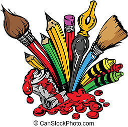 Art Supplies Vector Cartoon - Art and Back to School...