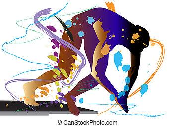 art-swimming - fly, art, man, body, jump, team, style,...