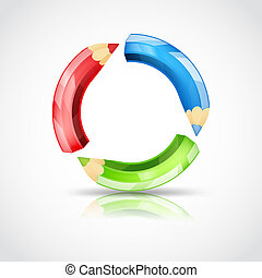 art symbol with color pencils