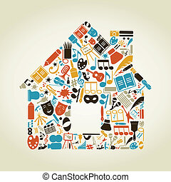 The house made of art. A vector illustration