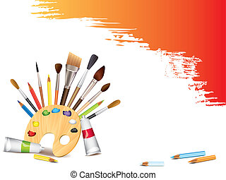 Art tools and grunge brush smears vector background