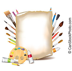 Art tools and sheet of paper vector background