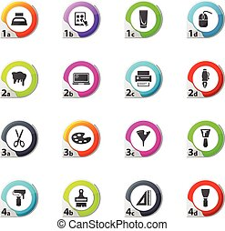 Art tools icons set