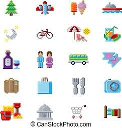 art, touriste, icônes, jeu, 8, morceau, pixel
