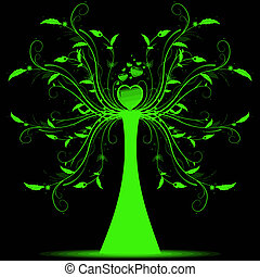 Beautiful abstract art tree on black background