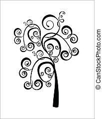 Art tree beautiful, black silhouette