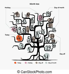 Art tree design, days of month concept