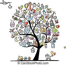 Art tree with baby toys for your design. Vector illustration