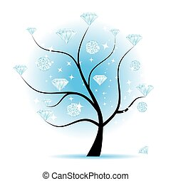 Art tree with diamonds for your design
