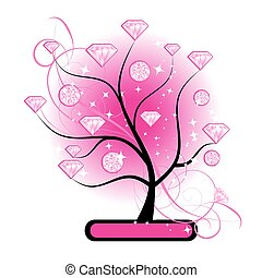 Art tree with diamonds pink for your design