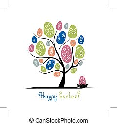 Art tree with easter eggs for your design
