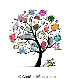 Art tree with funny hedgehog, sketch for your design