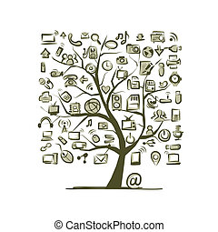 Art tree with IT devices for your design