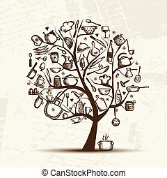Art tree with kitchen utensils, sketch drawing for your design