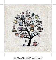 Art tree with mugs and cups. Sketch for your design. Vector illustration