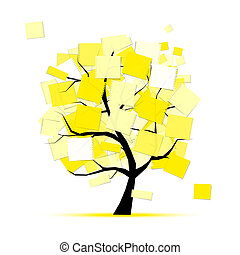 Art tree with yellow stickers for your design