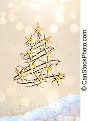art tropical Christmas Tree banner