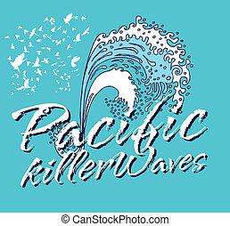 art, tueur, océan pacifique, vecteur, vagues