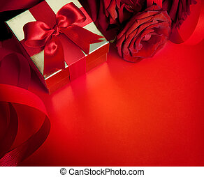 art valentines greeting card with red roses and gift box isolated on red background