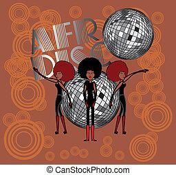art, vecteur, filles, afro, disco
