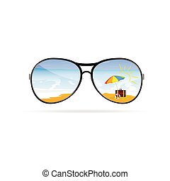 art, vecteur, plage, sunglass
