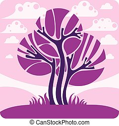 Art vector graphic illustration of stylized branchy tree and...