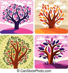 Art vector graphic illustration of stylized tree and...