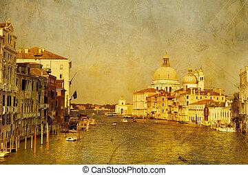 Art Venice, Italy. Gondolas on Grand Canal, Italian Canal ...