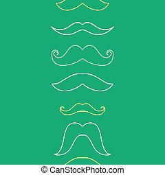 art, vertical, modèle, seamless, fond, moustaches, ligne