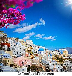 art view of Fira town - Santorini