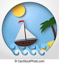 art, voile, flotteur, illustration, exotique, vecteur, bateau papier, sea.