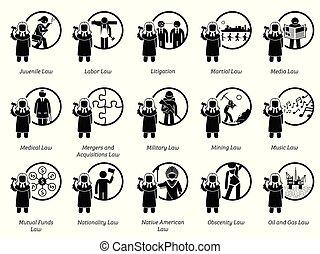 art, von, regierung, gesetze, regeln, und, regelungen, icons.