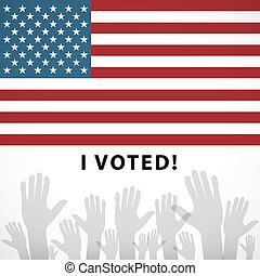 art Vote pin with USA flag