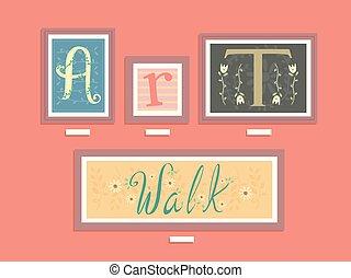 Art Walk Gallery Lettering Illustration